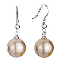 Earrings - 12  mm gold shell beads ball dangle fish hook earrings Image.