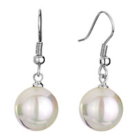 Earrings - color white shell beads ball dangle fish hook earrings Image.