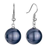 Earrings - 14 mm peacock blue shell beads ball dangle fish hook earrings Image.