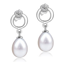 Sterling Silver Jewelry - sterling silver circle dangle white shell freshwater pearl earrings Image.