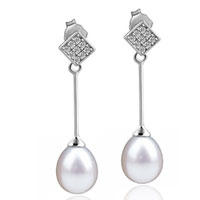 Sterling Silver Jewelry - sterling silver crystal cz square stick dangle pearl earrings Image.