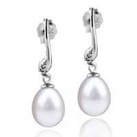Sterling Silver Jewelry - sterling silver stick dangle white shell freshwater pearl earrings Image.