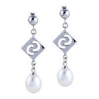 Sterling Silver Jewelry - filigree vintage sterling silver carved square pearl dangle earrings Image.