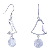 Earrings - dangle bell april white clear crystal cz fish hook earrings Image.