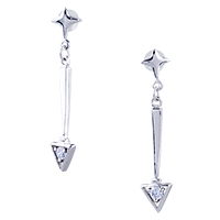 Earrings - star triangle earrings 925  sterling silver dangle Image.