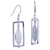 Sterling Silver Jewelry - 925  sterling silver rectangular leaf fish hook earrings for women Image.