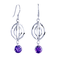 Sterling Silver Jewelry - purple crystal fish hook earrings dangle 925  sterling silver Image.