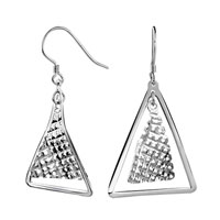 Sterling Silver Jewelry - irregular triangle sterling silver earrings dangle jewelry Image.