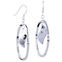 Sterling Silver Jewelry - circle willow sterling silver fish hook earrings  925 Image.