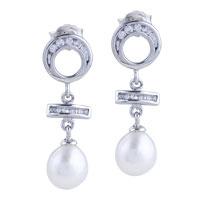 Sterling Silver Jewelry - sterling silver dangling hoop celtic cross jewelry dangle pearl earrings Image.