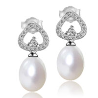 Sterling Silver Jewelry - 925 sterling silver cz crystal drop dangle white shell pearl earrings Image.