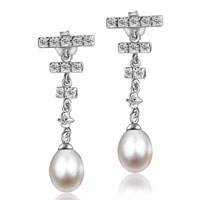 Sterling Silver Jewelry - sterling silver triple cubic zirconia crystal bar jewelry dangle white shell freshwater cultured pearl earrings Image.