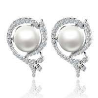 Mother Of Pearl Jewelry - cubic zirconia crystal flower framed white shell freshwater cultured pearl stud earrings Image.