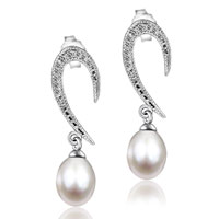 Sterling Silver Jewelry - 925 sterling silver cz crystal hook dangle white shell pearl earrings Image.