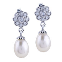 Sterling Silver Jewelry - sterling silver crystal flower dangling dangle pearl earrings Image.
