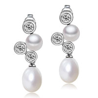 Sterling Silver Jewelry - sterling silver cubic zirconia crystal bubble dangle white shell freshwater cultured pearl earrings Image.