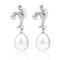 Sterling Silver Jewelry - sterling silver cubic zirconia crystal moon dangle white shell freshwater cultured pearl earrings Image.