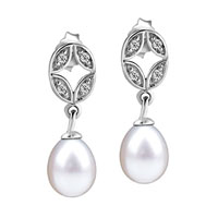 Sterling Silver Jewelry - 925  sterling silver crystal oval dangling dangle pearl earrings Image.