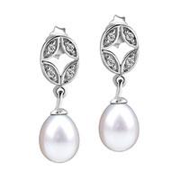 Sterling Silver Jewelry - 925  sterling silver crystal oval dangling dangle pearl earrings Image.