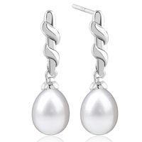Sterling Silver Jewelry - sterling silver wrapped stick dangle white shell freshwater cultured pearl earrings Image.