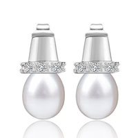 Mother Of Pearl Jewelry - classic top hat silver plated stud white pearl earrings for women Image.