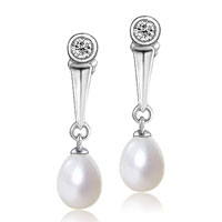 Sterling Silver Jewelry - sterling silver stick dangle white shell freshwater cultured pearl earrings Image.