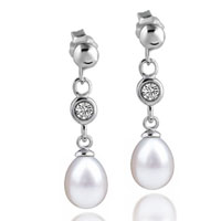 Sterling Silver Jewelry - sterling silver cubic zirconia crystal chain dangle white shell freshwater cultured pearl earrings Image.