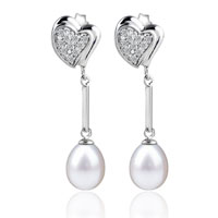 Sterling Silver Jewelry - sterling silver layered heart dangle white shell freshwater cultured pearl earrings Image.