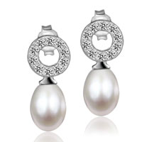 Sterling Silver Jewelry - sterling silver cubic zirconia crystal circle dangle white shell freshwater cultured pearl earrings Image.
