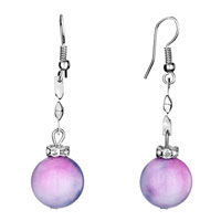 Earrings - silver curve pink ink dangle violet green murano glass ball knot fish hook earrings Image.