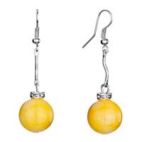 Earrings - silver curve yellow dangle yellow murano glass ball knot fish hook earrings Image.