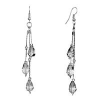 Earrings - different length chain gray swarovski crystal drop dangle stone chips fish hook earrings Image.