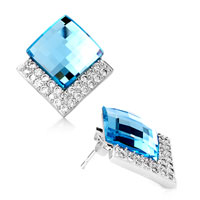 Earrings - fashion march birthstone aquamarine crystal cz stud earrings Image.