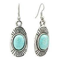 Earrings - retro oval turquoise dangle fish hook earrings gift Image.