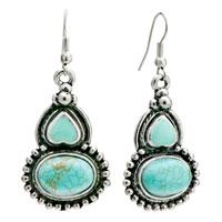 Earrings - green enamel heart &  oval turquoise fish hook earrings for women Image.