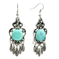 Earrings - open heart withturquoise chandelier dangle fish hook earrings women Image.