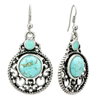 Earrings - retro dangle dound turquoise fish hook silver plated earrings women Image.