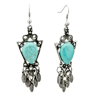 Earrings - triangle turquoise dangle fish hook silver plated earrings for women Image.
