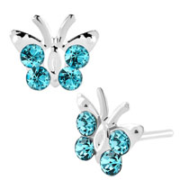 Earrings - diomand earrings aquamarine blue gemstone butterfly stud earrings Image.