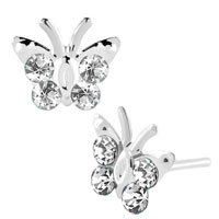 Earrings - diomand earrings clear white gemstone butterfly stud earrings Image.