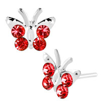 Earrings - diomand earrings light red gemstone butterfly stud earrings Image.