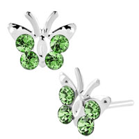 Earrings - diomand earrings peridot green gemstone butterfly stud earrings Image.