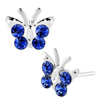Earrings - diomand earrings sapphire blue gemstone butterfly stud earrings Image.