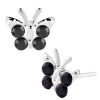 Earrings - diomand earrings classic black gemstone butterfly stud earrings Image.
