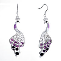 Earrings - beautiful pink peacock clear violet amethyst rhinestone swarovski crystal dangle fish hook earrings Image.