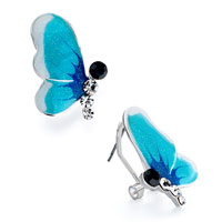 Earrings - aqua half butterfly shimmering powder black clear rhinestone crystal stud earrings Image.