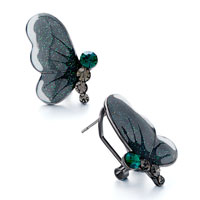 Earrings - gray half butterfly shimmering powder green rhinestone swarovski crystal stud earrings Image.