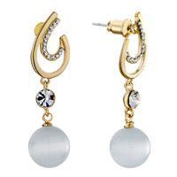 Earrings - incomplete golden drop clear detailed swarovski crystal dangle white porcelain ball earrings Image.