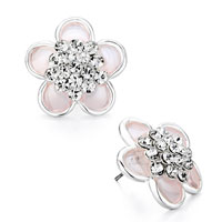 Earrings - pink plastic cement flower april birthstone clear swarovski crystal stud earrings Image.