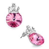 Earrings - pink clear detailed swarovski crystal october birthstone rose whipping top stud earrings Image.
